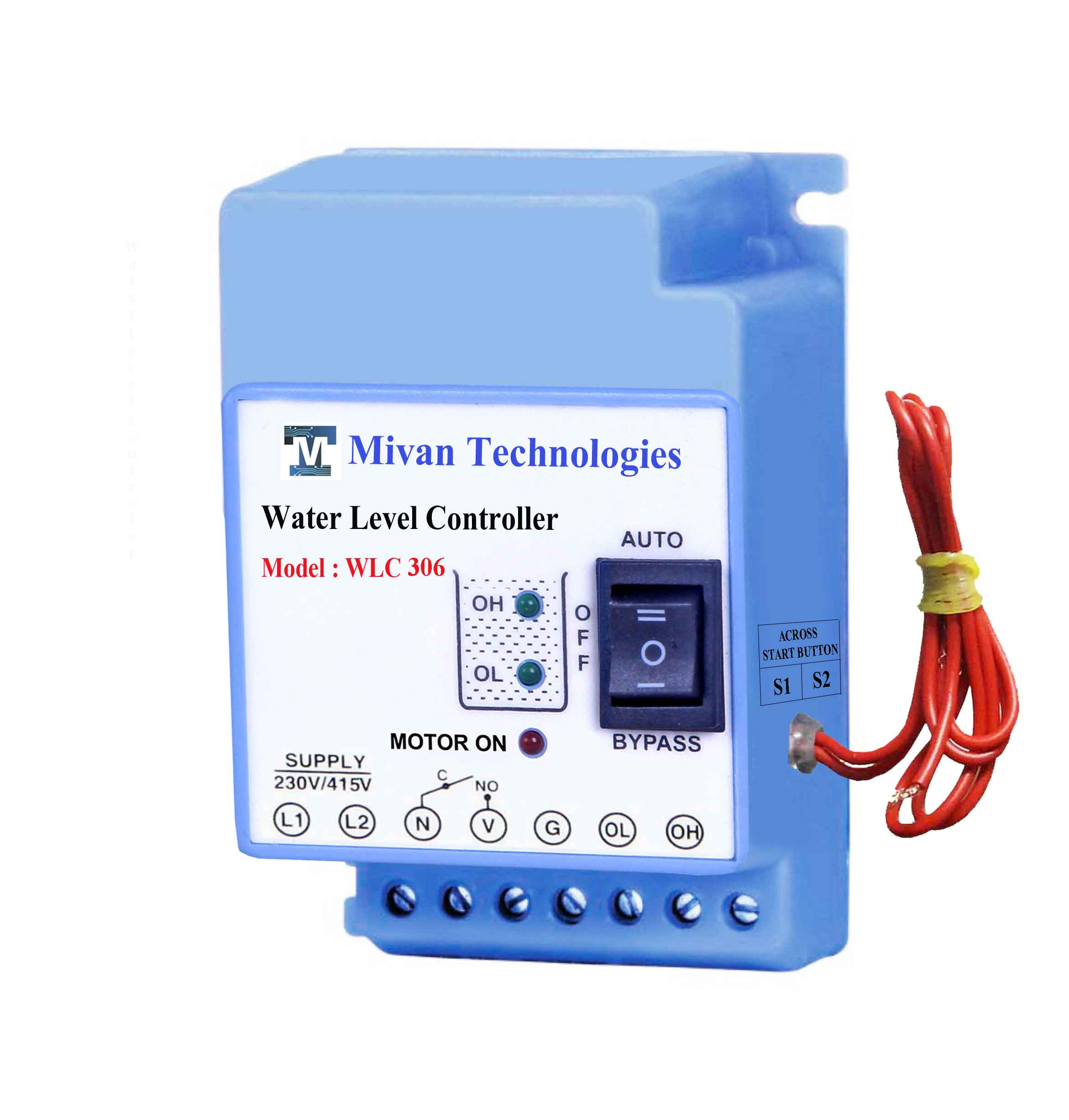 WLC 306 Water level controller for 3 phase motor and submersible pump with 3 sensor