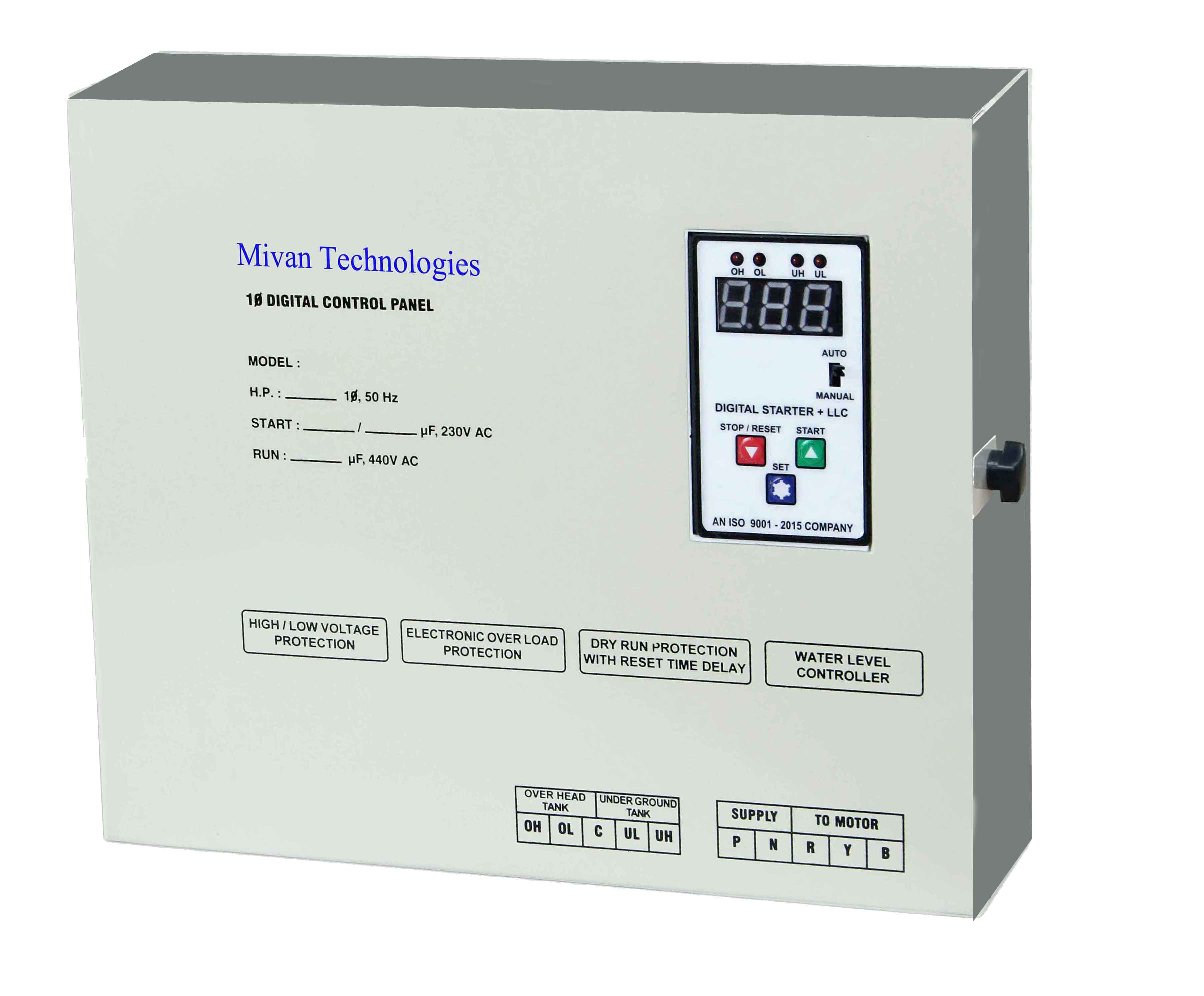 DSL SR for 3 HP motor Digital water level controller and starter panel with volt and amp miter with high low voltage protection