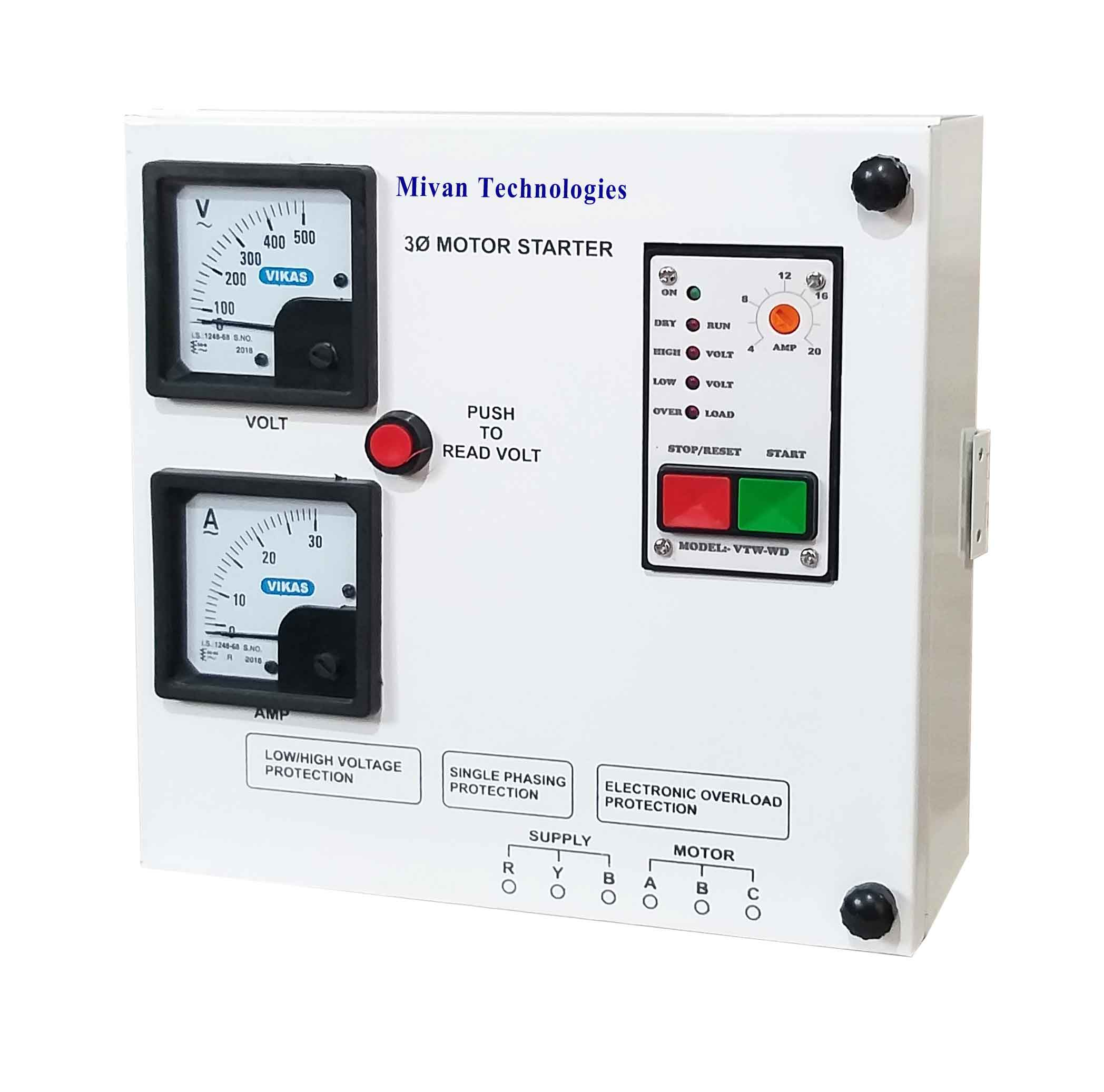 3 phase DOL electronic starter for 3 phase motor with volt and ampere miter suitable up to 7.5 hp motor with all protections