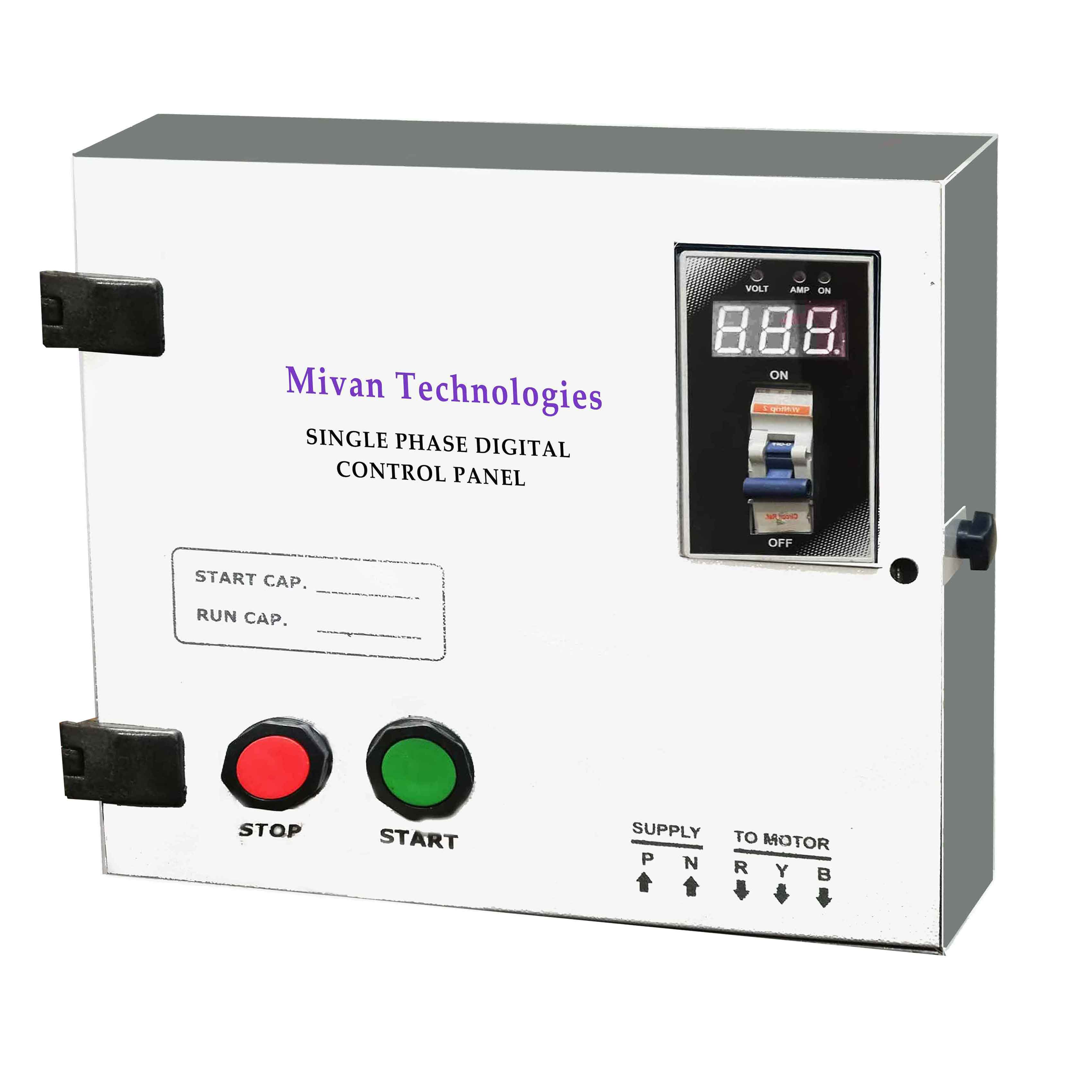 DMPS SR 3 HP Single phase Digital starter panel with digital volt and amp miter with start and run capacitor