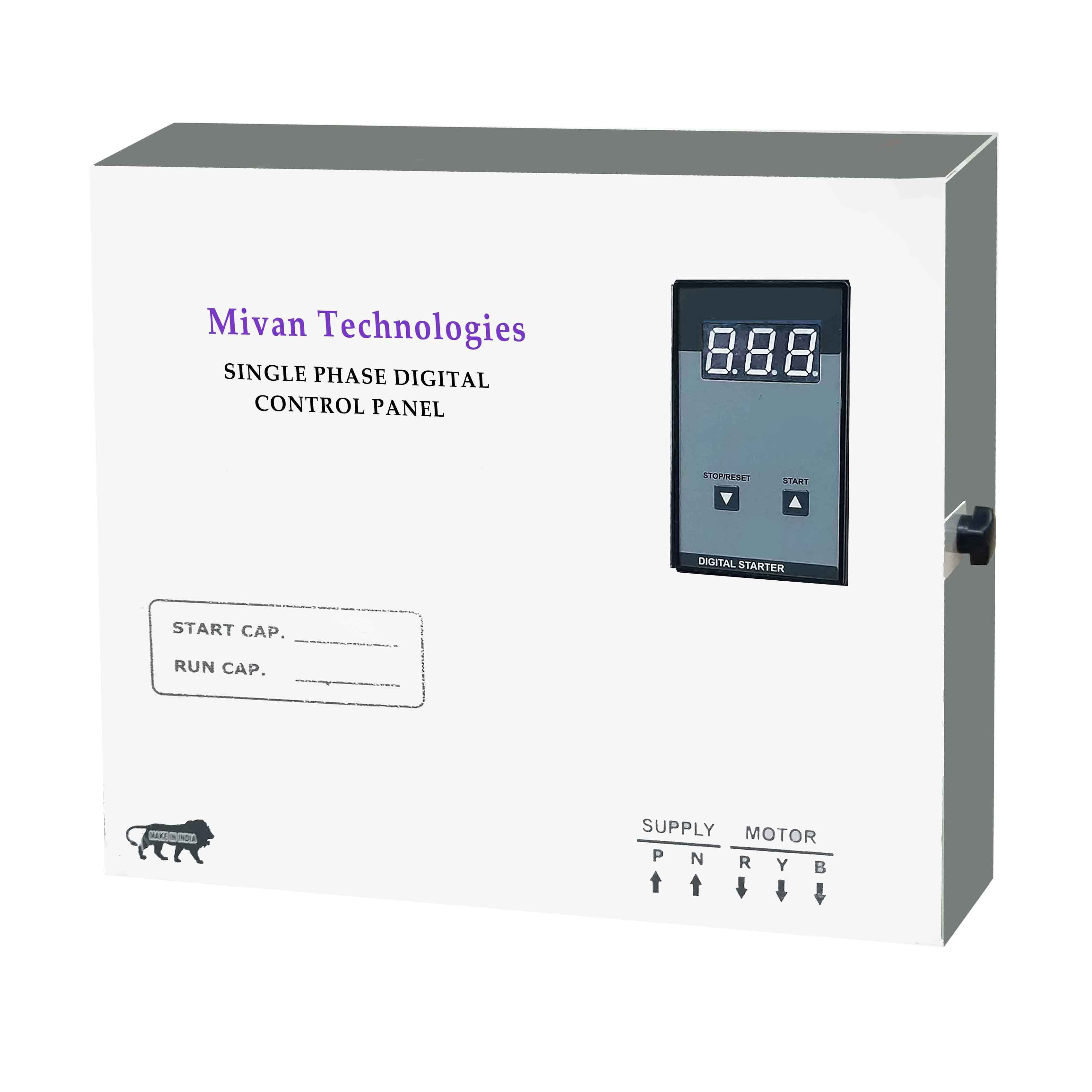 DVA SR for 3 HP motor Digital starter panel with volt and amp miter with start and run capacitor