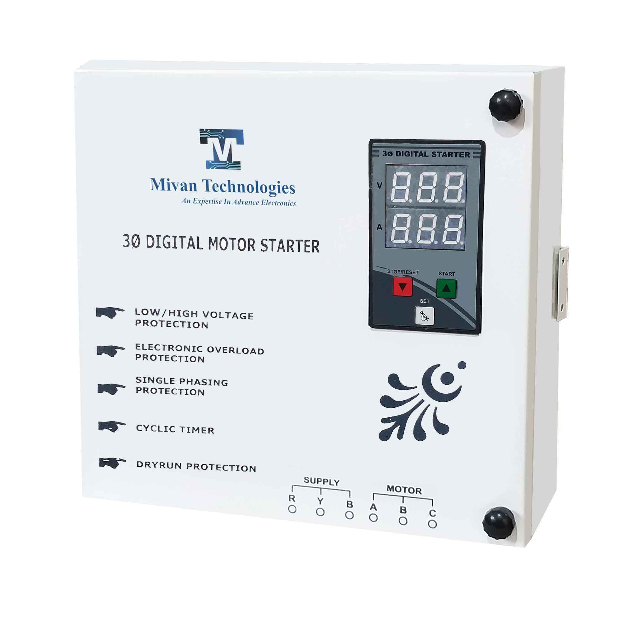 DP 301 T MS 3 phase DOL digital starter for 3 phase motor suitable up to 7.5 hp motor with all protections with auto switch and timer